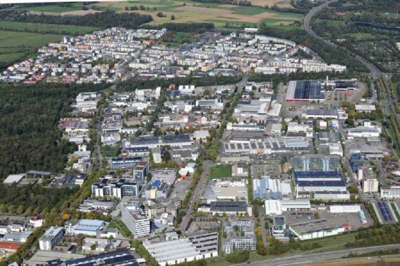 Industrial and commercial area Haid and behind it district Rieselfeld in Freiburg im Breisgau in the state Baden-Wurttemberg, Germany.