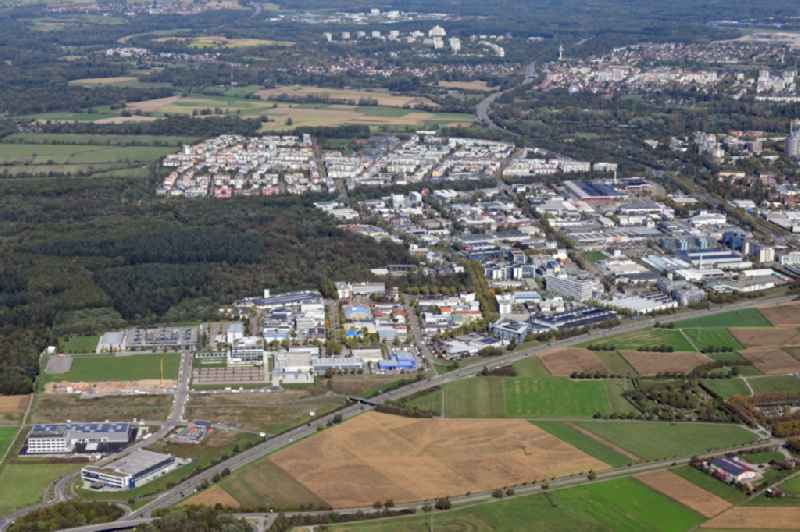 Industrial and commercial area Haid and behind it district Rieselfeld and Dietenbach in Freiburg im Breisgau in the state Baden-Wurttemberg, Germany.