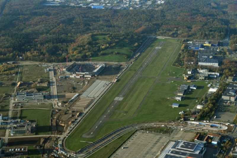 Airport and tarmac terrain of the airfield EDTF in Freiburg im Breisgau in the state Baden-Wurttemberg, Germany