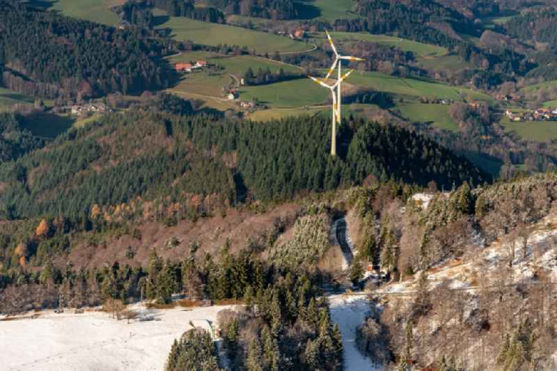 Wind turbine windmills (WEA) in a forest area in Freiburg im Breisgau in the state Baden-Wurttemberg, Germany.