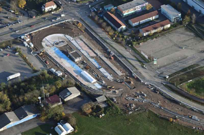 Construction works for the track systems of the S-Bahn final station 'Messe' at the Madisonallee in Freiburg im Breisgau in the state Baden-Wurttemberg, Germany.