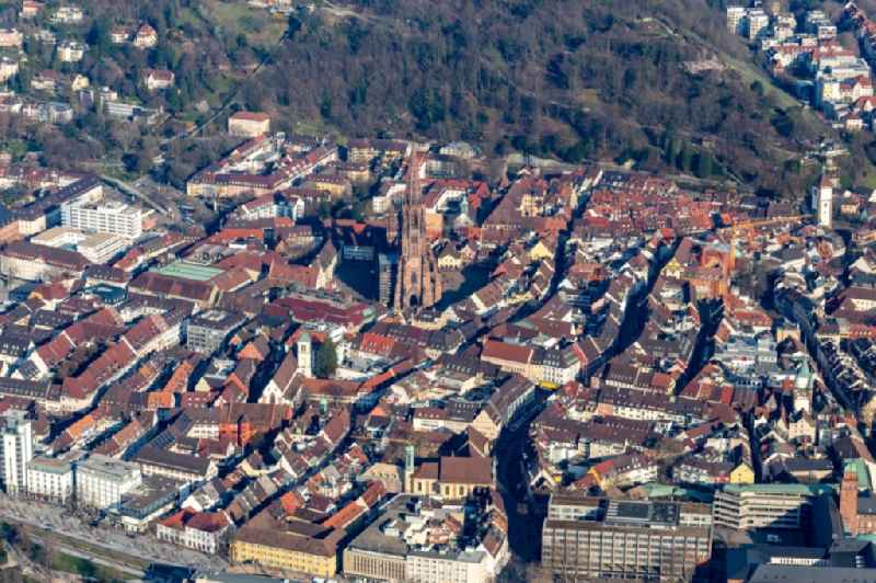Old Town area and city center in Freiburg im Breisgau in the state Baden-Wurttemberg, Germany.