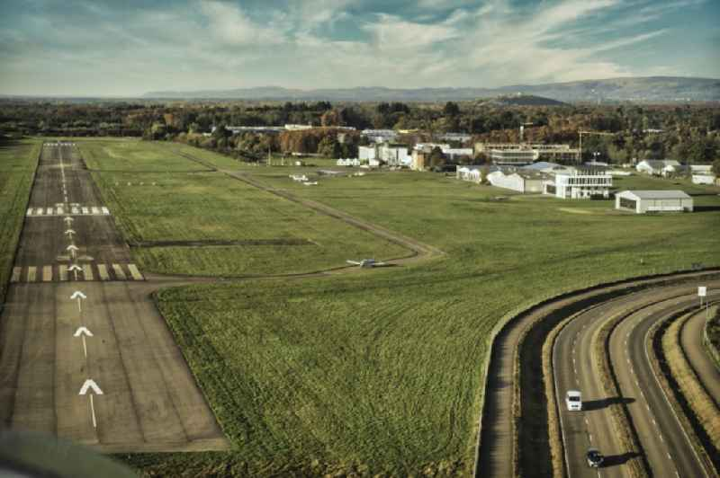 Airport and tarmac terrain of the airfield EDTF in Freiburg im Breisgau in the state Baden-Wurttemberg, Germany.