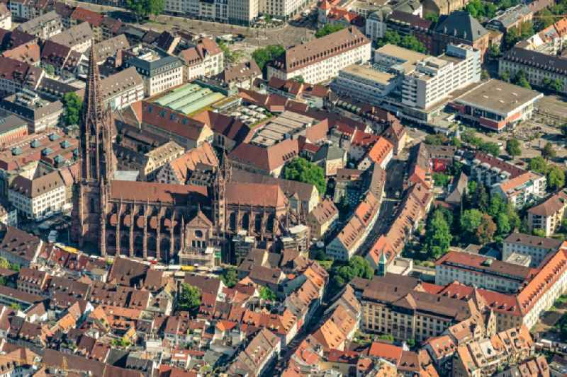 Old Town area and city center in Freiburg im Breisgau in the state Baden-Wurttemberg, Germany