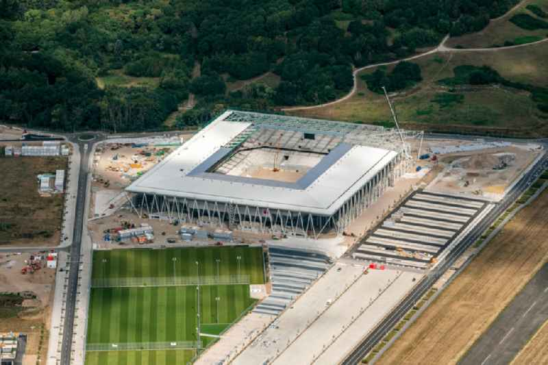 Construction site on the sports ground of the stadium ' SC-Stadion ' of Stadion Freiburg Objekttraeger GmbH & Co. KG (SFG) in the district Bruehl in Freiburg im Breisgau in the state Baden-Wurttemberg, Germany