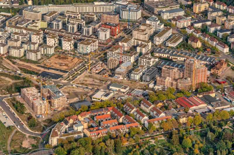 District Gueterbahnhof Nord in the city in Freiburg im Breisgau in the state Baden-Wurttemberg, Germany. Buildings arise on the area of the former Goods Station North