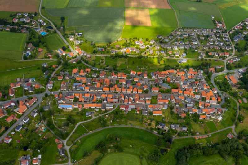 Town View of the streets and houses of the residential areas in Freienhagen in the state Hesse, Germany.