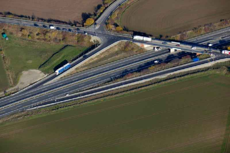 Highway exit and access the motorway A 38 in Friedland in the state Lower Saxony, Germany