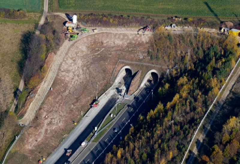 New construction of the route in the course of the motorway tunnel construction HEidkopftunnel of the BAB A 38 in Friedland in the state Lower Saxony, Germany