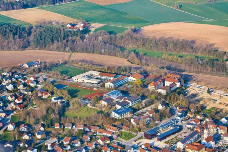 School buildings and sports facilities of the elementary and middle school as well as the Maristen-Gymnasium, on the Klosterstrasse in Furth in the federal state of Bavaria, Germany.
