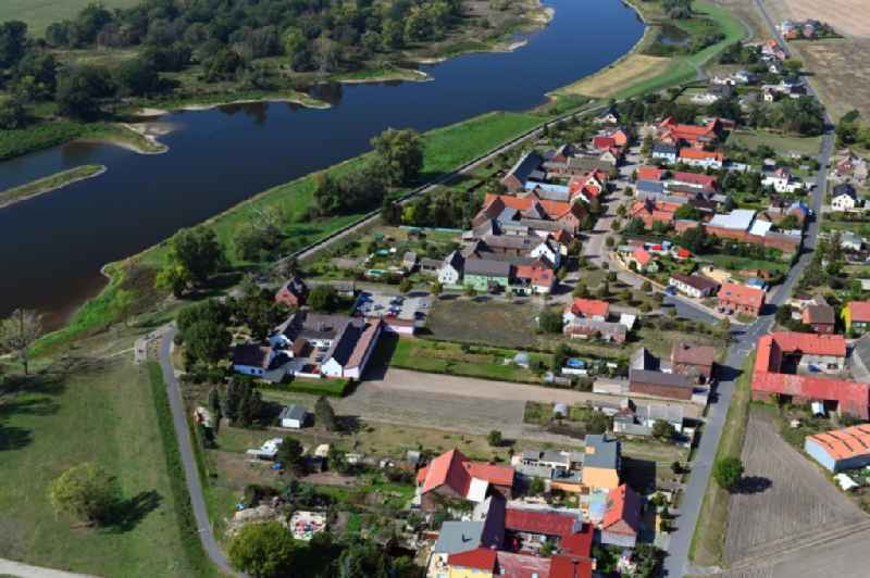 Village on the river bank areas of the River Elbe in Gallin in the state Saxony-Anhalt, Germany