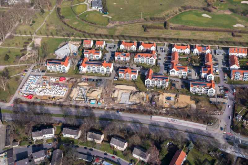 Construction site to build a new multi-family residential complex of ' Vivawest Wohnen GmbH ' An of Rennbahn in Gelsenkirchen in the state North Rhine-Westphalia, Germany.