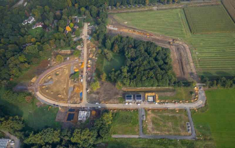 Construction sites for new construction residential area of detached housing estate along the Westerholter Strasse in Gelsenkirchen in the state North Rhine-Westphalia, Germany