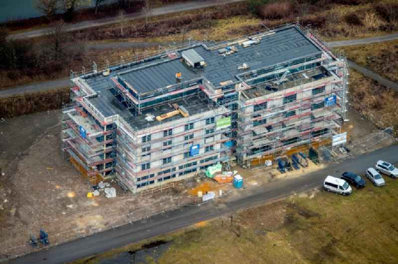 Construction site of the new buildings of the retirement home - retirement 'Leben auf Graf Bismarck' on Luebecker Strasse in the district Bismarck in Gelsenkirchen in the state North Rhine-Westphalia, Germany
