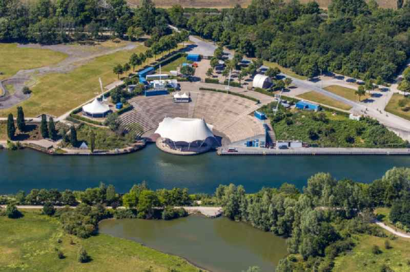 Construction of the building of the open-air theater Amphitheater-Gelsenkirchen on Grothusstrasse on shore of river Rhein-Herne-Kanal in the district Horst in Gelsenkirchen in the state North Rhine-Westphalia, Germany
