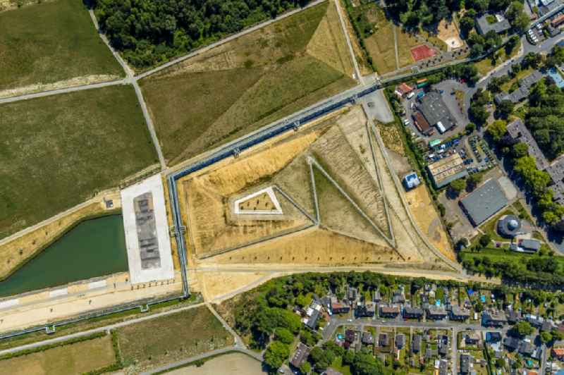 Building site for the construction and layout of a new park with paths and green areas in the district Hassel in Gelsenkirchen in the state North Rhine-Westphalia, Germany