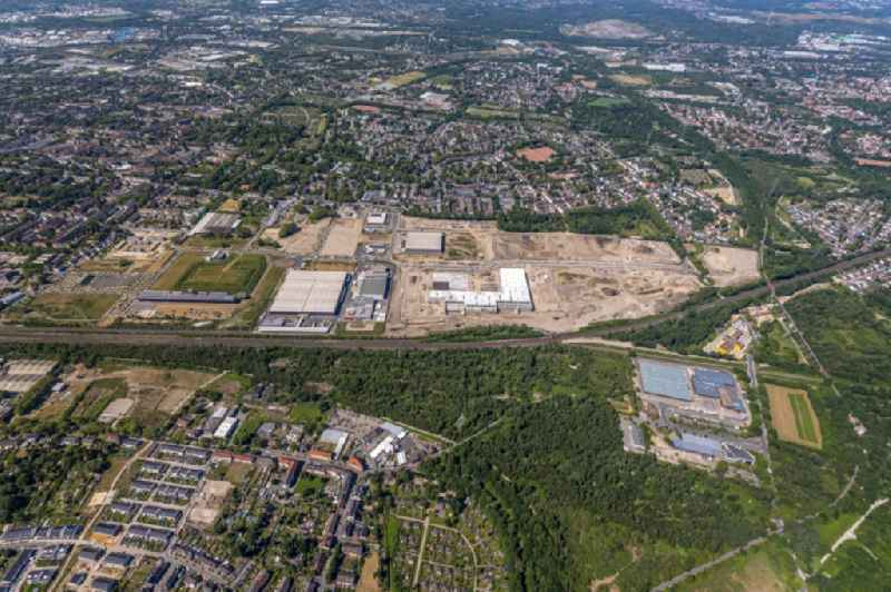 Construction site to build a new building complex on the site of the logistics center Febi Bilstein on Europastrasse in Gelsenkirchen in the state North Rhine-Westphalia, Germany