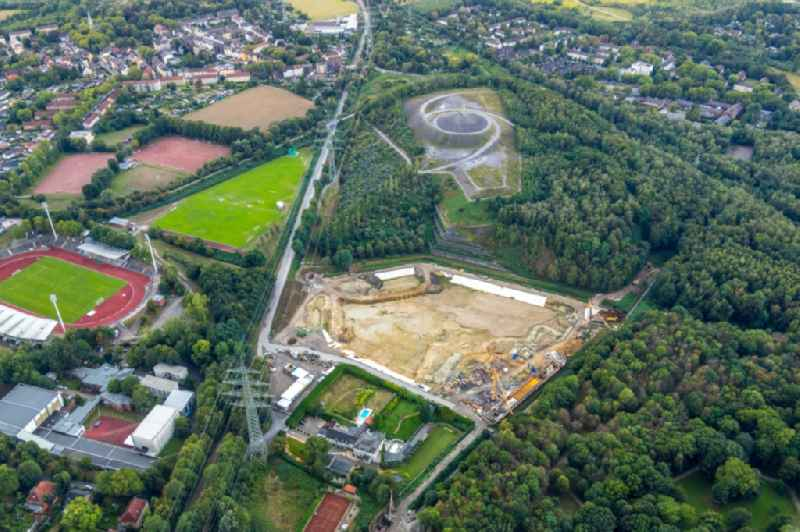 As part of the rehabilitation and repair exposed ground of the water reservoir and retention basin on Hollandstrasse in Gelsenkirchen in the state North Rhine-Westphalia, Germany