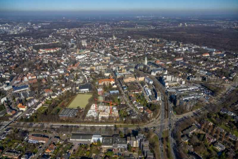 Construction site for the multi-family residential building on Breddestrasse in the district Buer in Gelsenkirchen at Ruhrgebiet in the state North Rhine-Westphalia, Germany