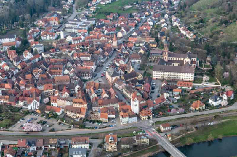 Town on the banks of the river of the Kinzig river in Gengenbach in the state Baden-Wuerttemberg, Germany