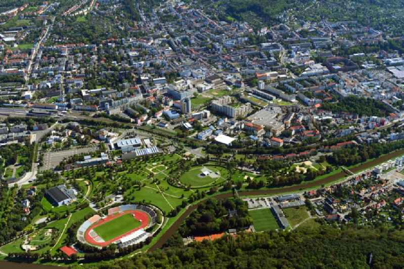 Sports facility grounds of the Arena stadium ' Stadion of Freandschaft ' of BSG Wismut Gera in Gera in the state Thuringia, Germany