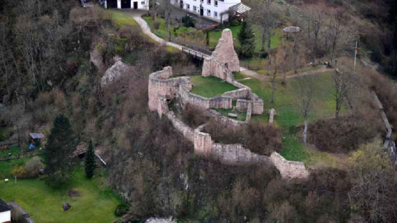 Ruins and vestiges of the former castle and fortress Loewenburg in Gerolstein in the state Rhineland-Palatinate, Germany.