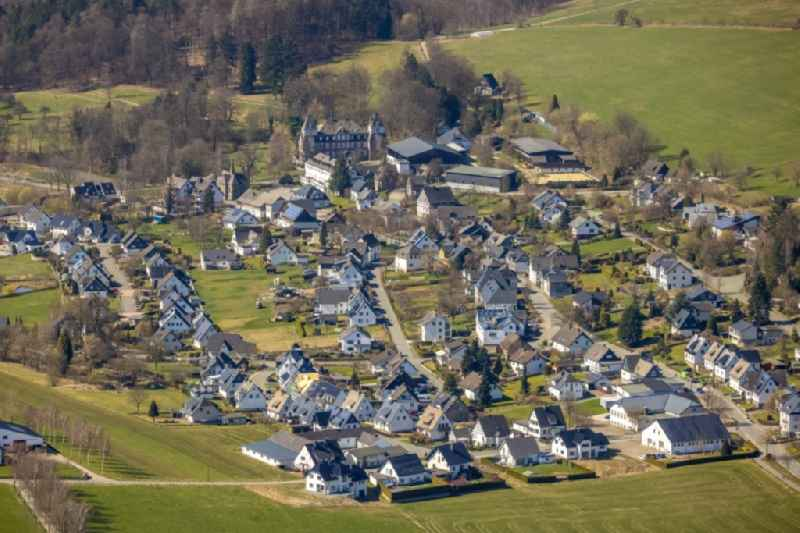 Town View of the streets and houses of the residential areas in Gevelinghausen at Sauerland in the state North Rhine-Westphalia, Germany