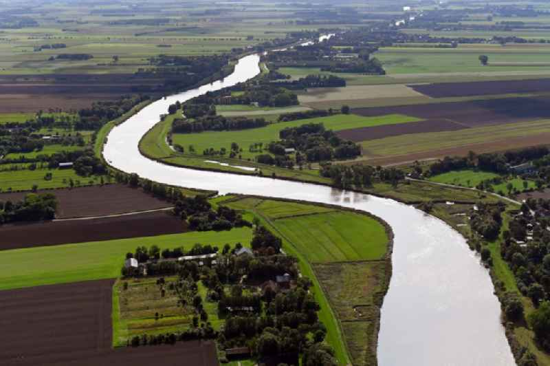 Curved loop of the riparian zones on the course of the river of Oste in Geversdorf in the state Lower Saxony, Germany
