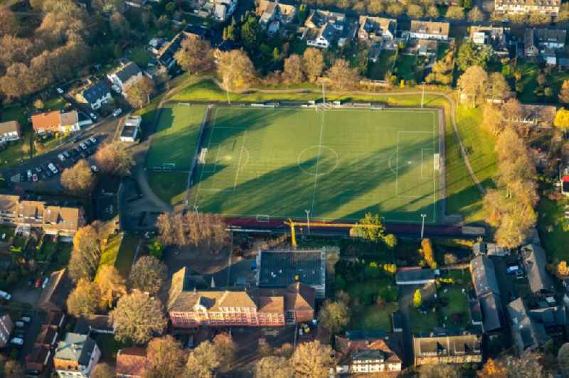Autumnal discolored vegetation view sports grounds and football pitch in Rentfort in Gladbeck in the state North Rhine-Westphalia, Germany. Further information at: Ballspielverein Gladbeck-Rentfort e.V..