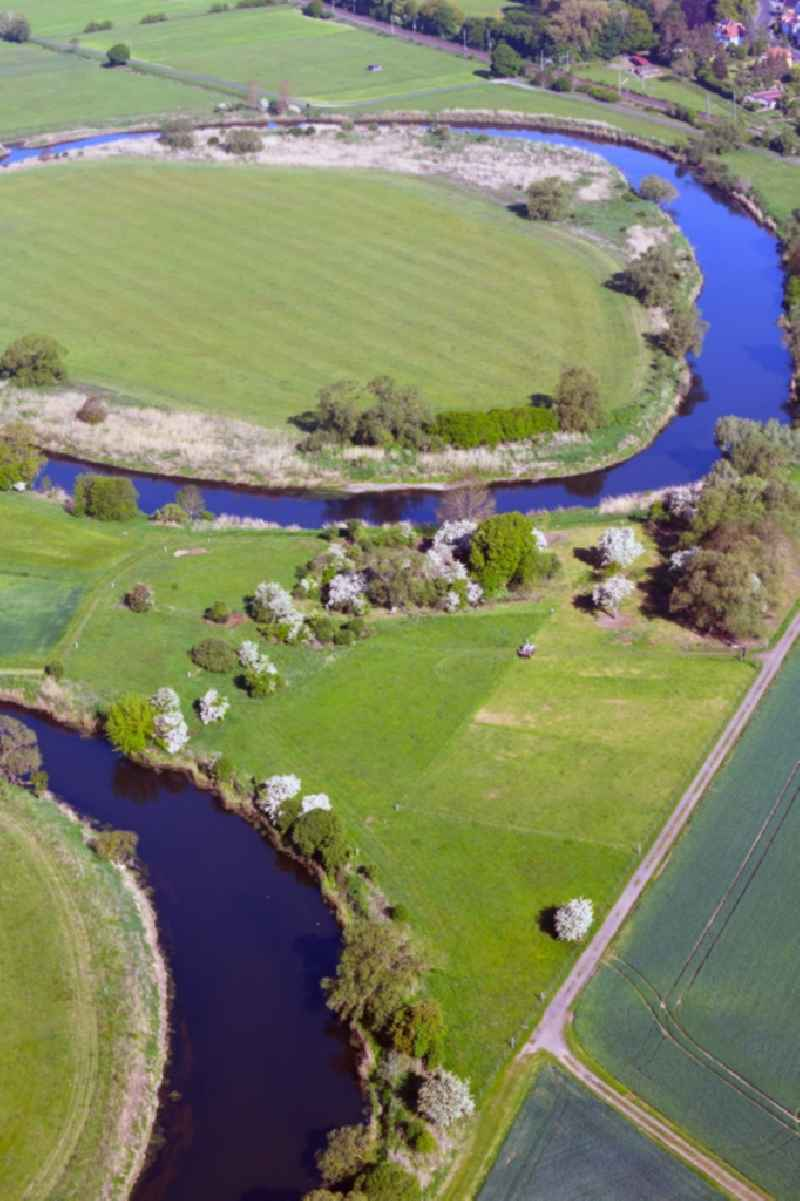 Curved loop of the riparian zones on the course of the river Werra - in Goeringen in the state Thuringia, Germany