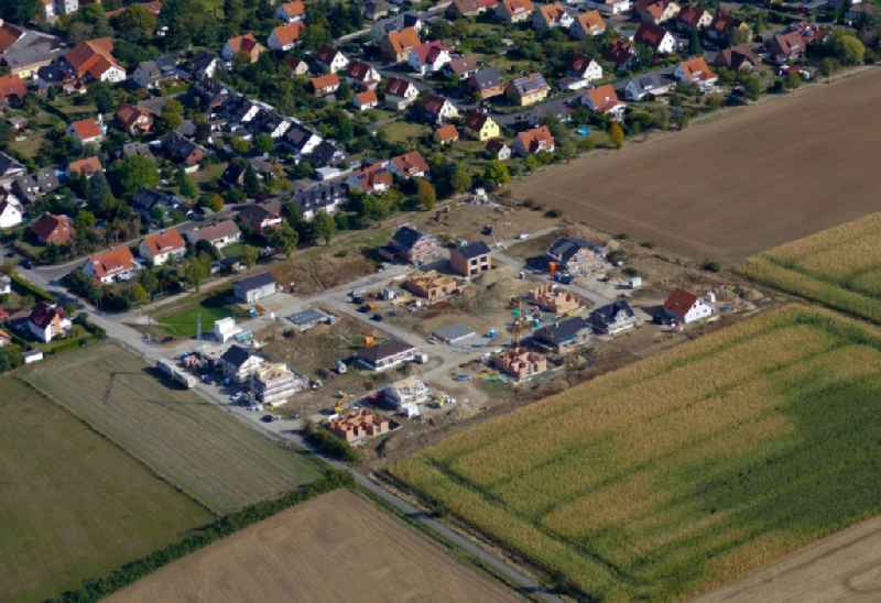 Construction sites for new construction residential area of detached housing estate in Goettingen in the state Lower Saxony, Germany.