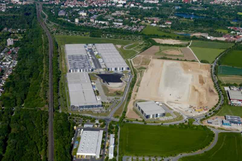 Construction site to build a new building complex on the site of the logistics center VGP-Park Goettingen in the state Lower Saxony, Germany