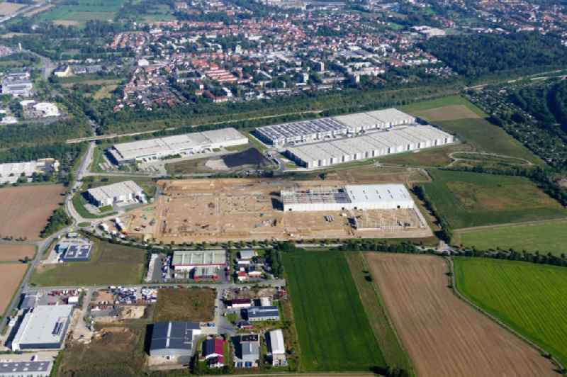 Construction site to build a new building complex on the site of the logistics center VGP-Park in Goettingen in the state Lower Saxony, Germany