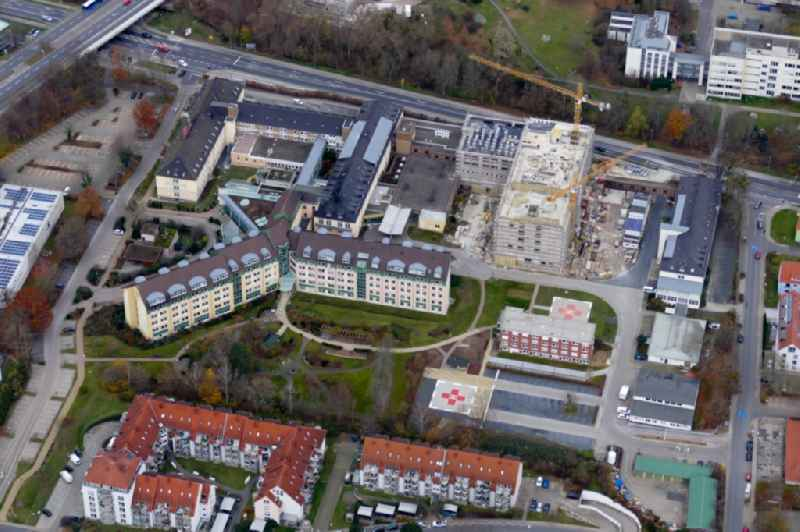 Construction site for a new extension to the hospital grounds ' Evangelisches Krankenhaus Goettingen-Weende ' in the district Weende in Goettingen in the state Lower Saxony, Germany