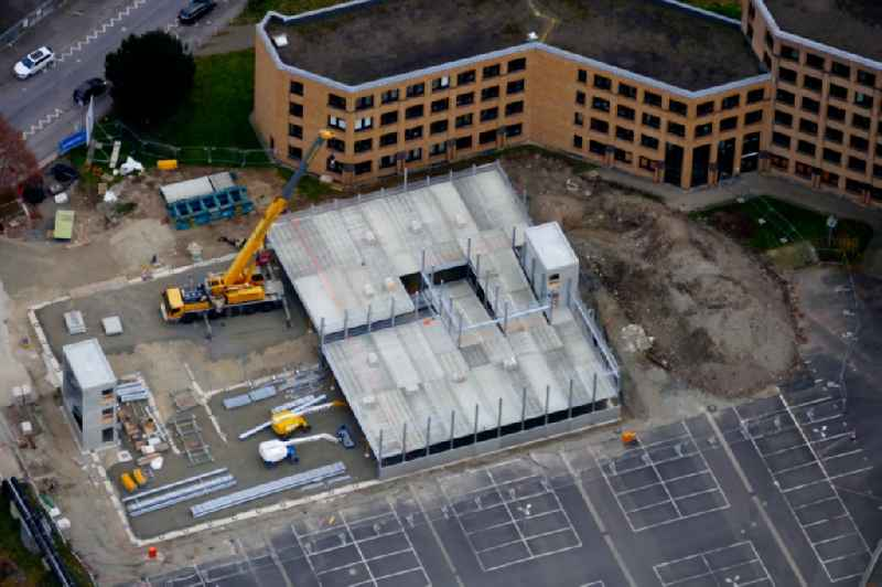 Construction site for the new parking garage of tax office in Goettingen in the state Lower Saxony, Germany