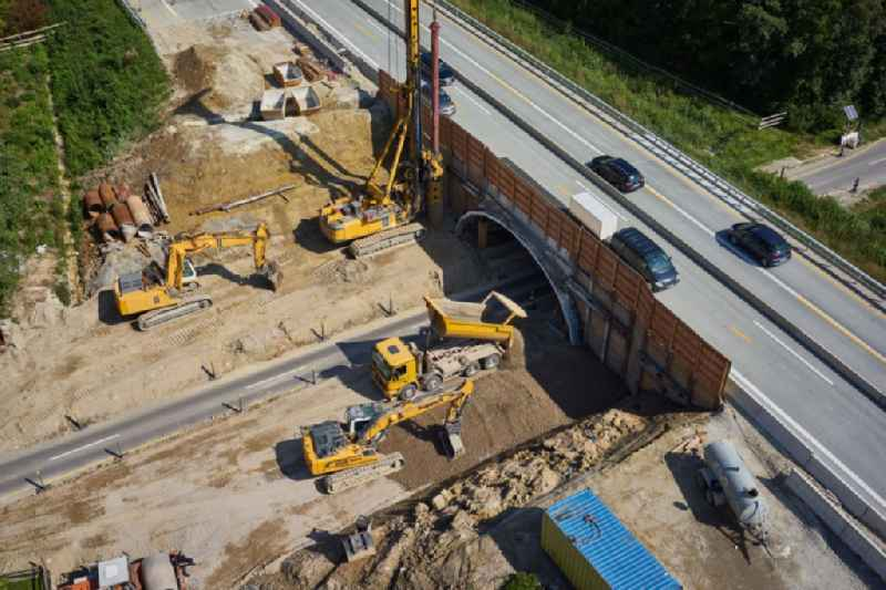 Construction site for the new building of Routing and traffic lanes over the highway bridge in the motorway A in Gollhofen in the state Bavaria, Germany