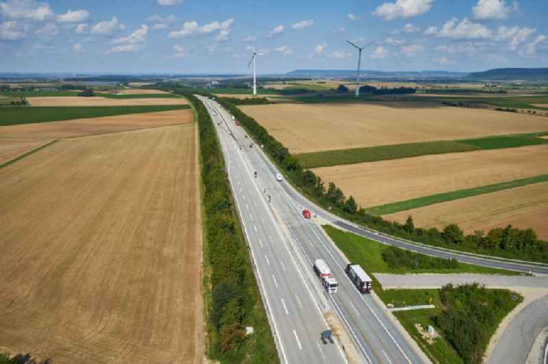 Routing and traffic lanes during the highway exit and access the motorway A 7 in Gollhofen in the state Bavaria, Germany