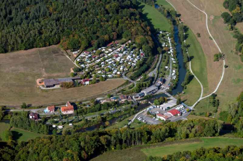 Camping with caravans and tents in the district Weickersgrueben in Graefendorf in the state Bavaria, Germany.