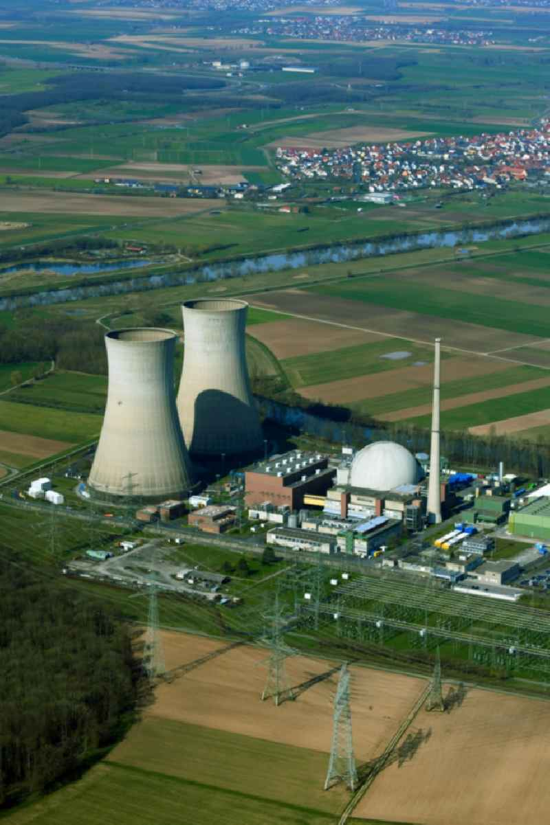 Reactor blocks, cooling tower structures and plants of the nuclear power plant - nuclear power plant AKW - KKW in Grafenrheinfeld in the state Bavaria, Germany