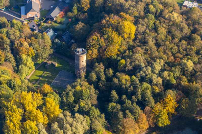 Autumnal discolored vegetation view ruins and vestiges of the former castle and fortress ' Burg Uda ' in the district Oedt in Grefrath in the state North Rhine-Westphalia, Germany.