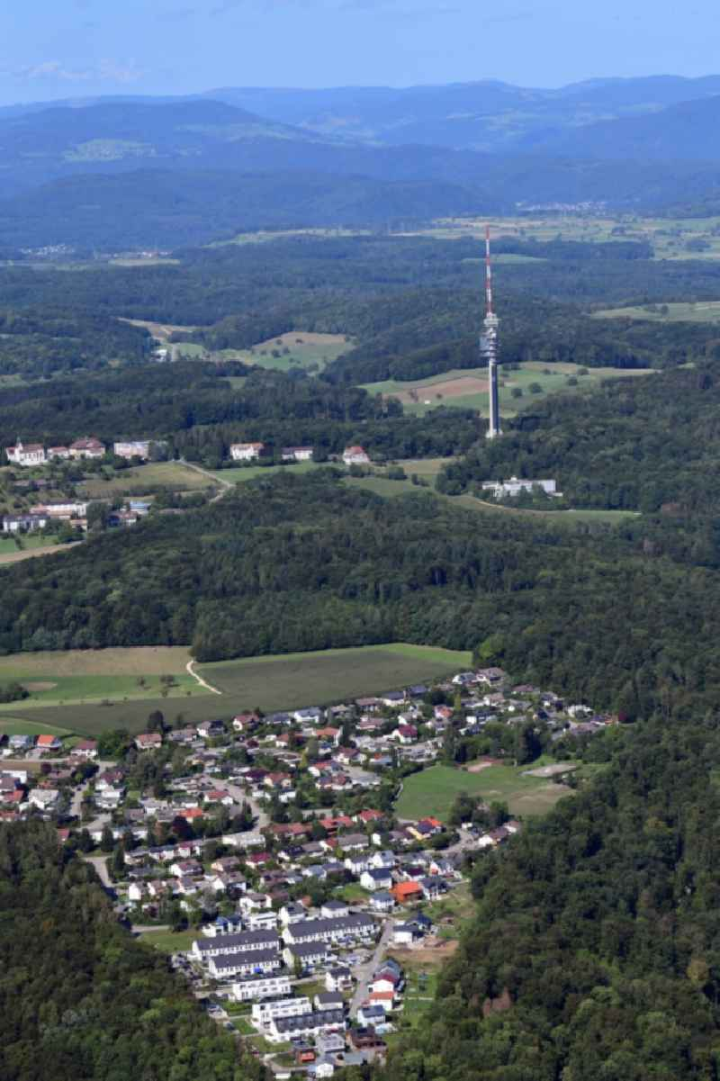 Residential area and district Neufeld in in Grenzach-Wyhlen in the state Baden-Wurttemberg, Germany. Looking to the landmark and television tower St. Chrischona in Switzerland.