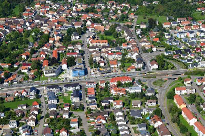 Town view of the streets and houses of the residential areas in the district Wyhlen in Grenzach-Wyhlen in the state Baden-Wuerttemberg, Germany