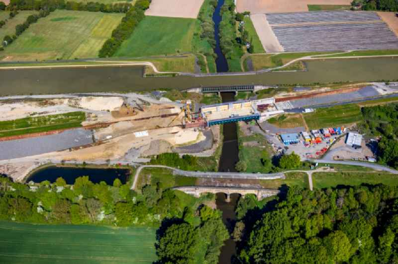 Construction of road bridge of canal bypass between Gittruper Strasse and Fuestruper Strasse in Greven in the state North Rhine-Westphalia, Germany