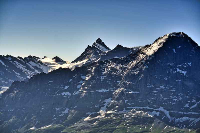 Summits and mountain landscape of Moench and Jungfrau at Grindelwald in the Bernes Alps, Switzerland