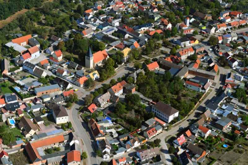 Town View of the streets and houses of the residential areas in Gross Rosenburg in the state Saxony-Anhalt, Germany