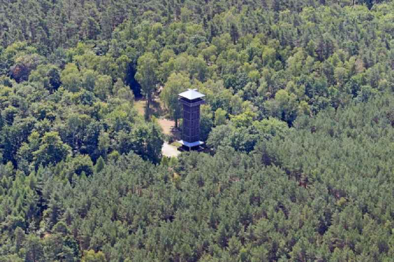 Structure of the observation tower on Wehlaberg in Gross Wasserburg in the state Brandenburg, Germany