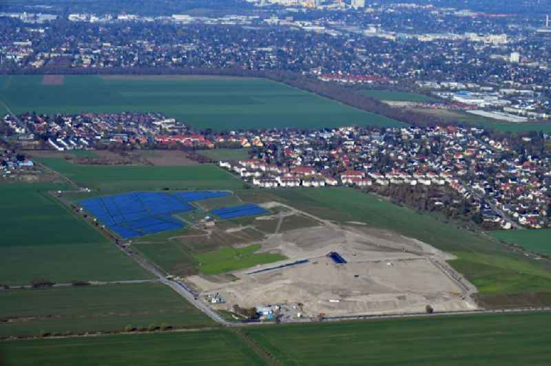 Renovation, sealing and restoration work on the site of the refurbished landfill ' Deponie Grossziethen ' in Grossziethen in the state Brandenburg, Germany.