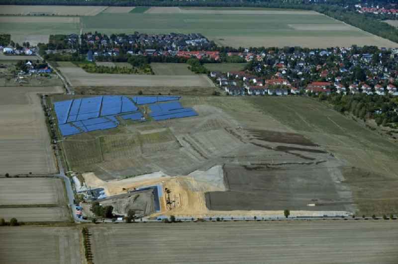 Renovation, sealing and restoration work on the site of the refurbished landfill ' Deponie Grossziethen ' in Grossziethen in the state Brandenburg, Germany