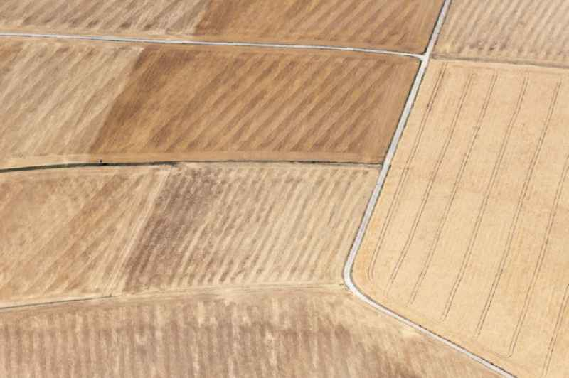 Field structures of a harvested grain field in Guentersleben in the state Bavaria, Germany