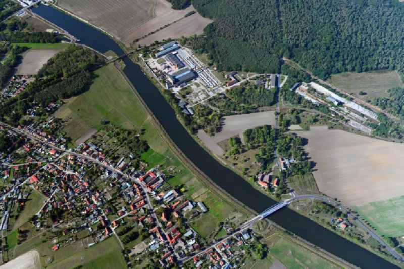 Town on the banks of the river Elbe-Havel-Kanal in Guesen in the state Saxony-Anhalt, Germany
